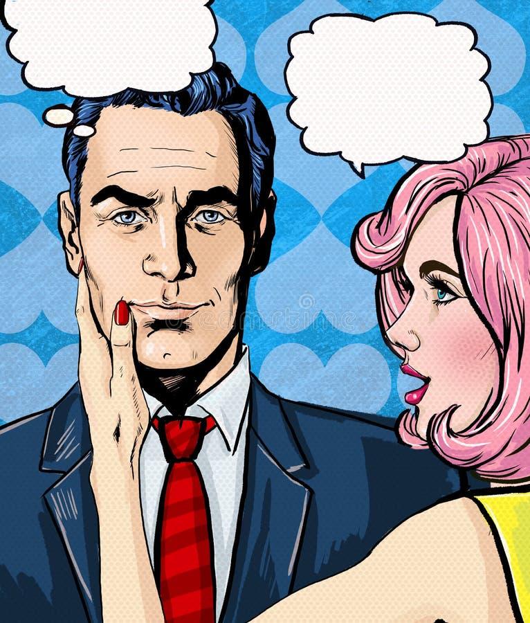 Het gesprek van het pop-artpaar Houd van paar Pop-artliefde De prentbriefkaar van de valentijnskaartendag De scène van de Hollywo stock illustratie