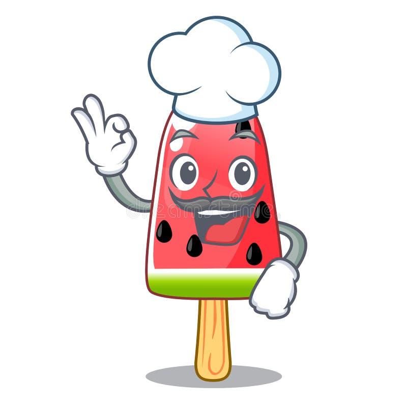 Het gestalte gegeven houten karakter van de chef-kokwatermeloen roomijs royalty-vrije illustratie