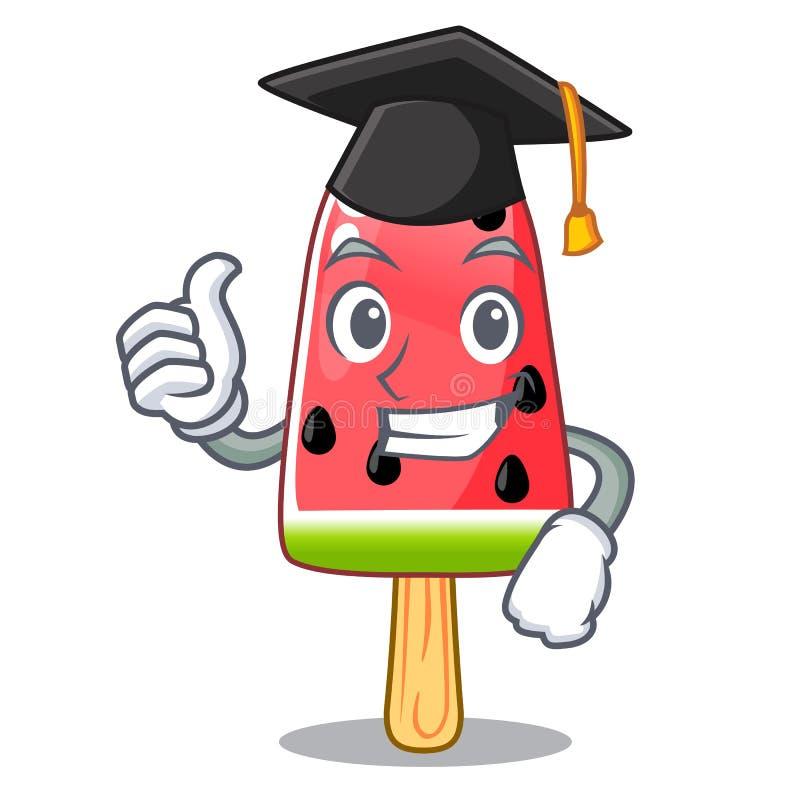 Het gestalte gegeven houten karakter van de graduatiewatermeloen roomijs stock illustratie