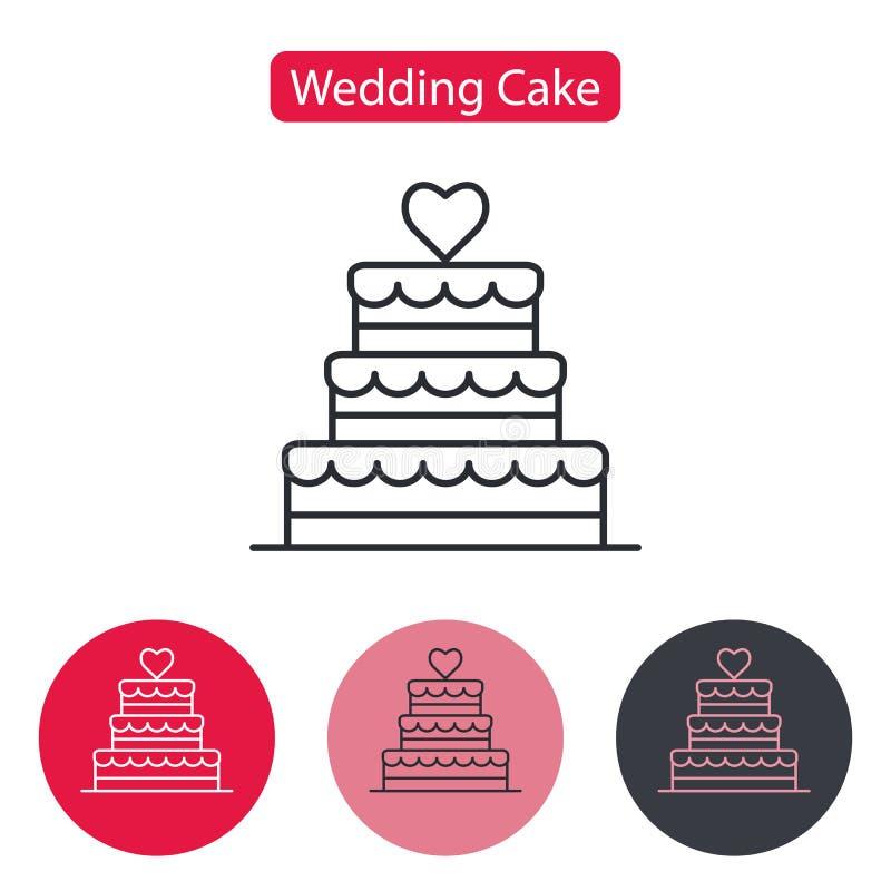 Het gestapelde dessert van de huwelijkscake met hart royalty-vrije illustratie
