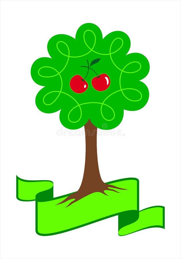 Het gestileerde embleem van de kersenboom royalty-vrije illustratie