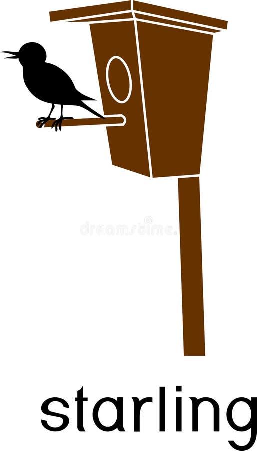 Het gestileerde gemeenschappelijke starling bij vogelhuis met titel royalty-vrije illustratie
