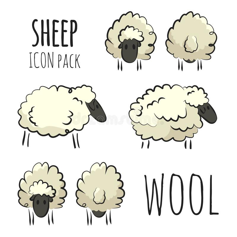 Het gestileerde kleurrijke hand-drawn pak van het schapenpictogram op witte achtergrond stock foto's