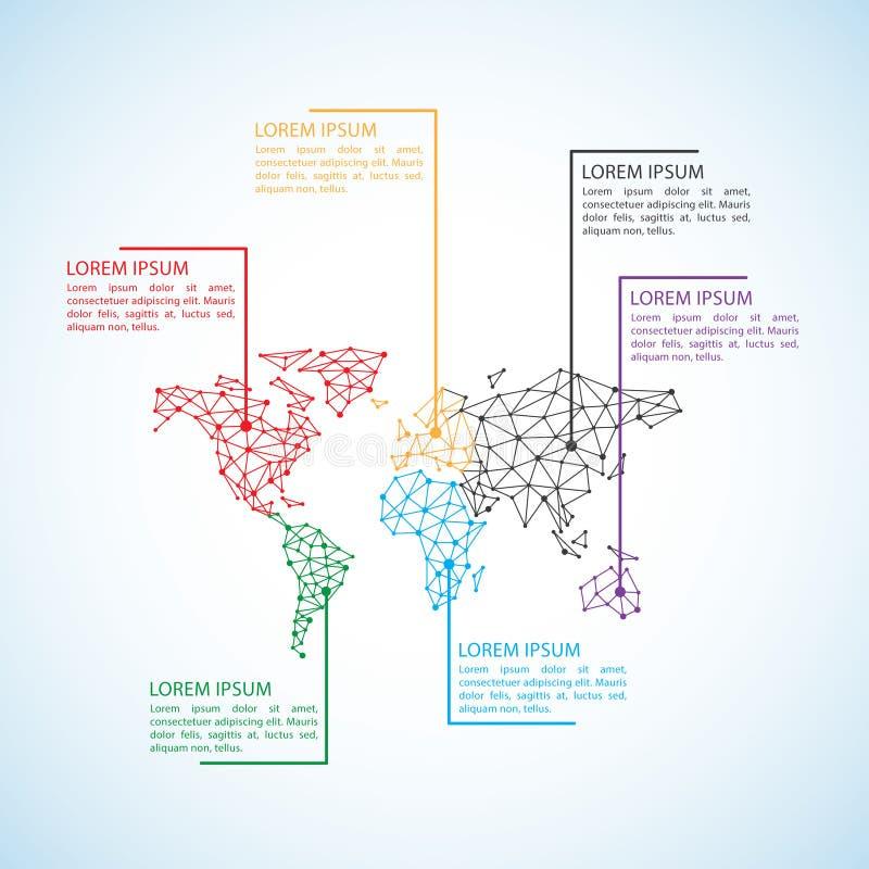 Het gestileerde lage polyconcept van de Wereldkaart met getelegrafeerde bouw van verbindingsconcept Bollen bedrijfsinfographicsac royalty-vrije illustratie