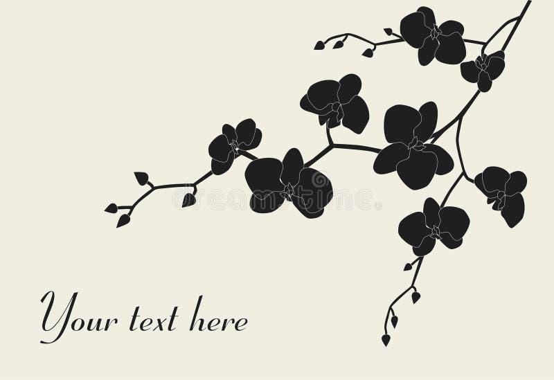 Het gestileerde ontwerp van de orchideetak royalty-vrije illustratie