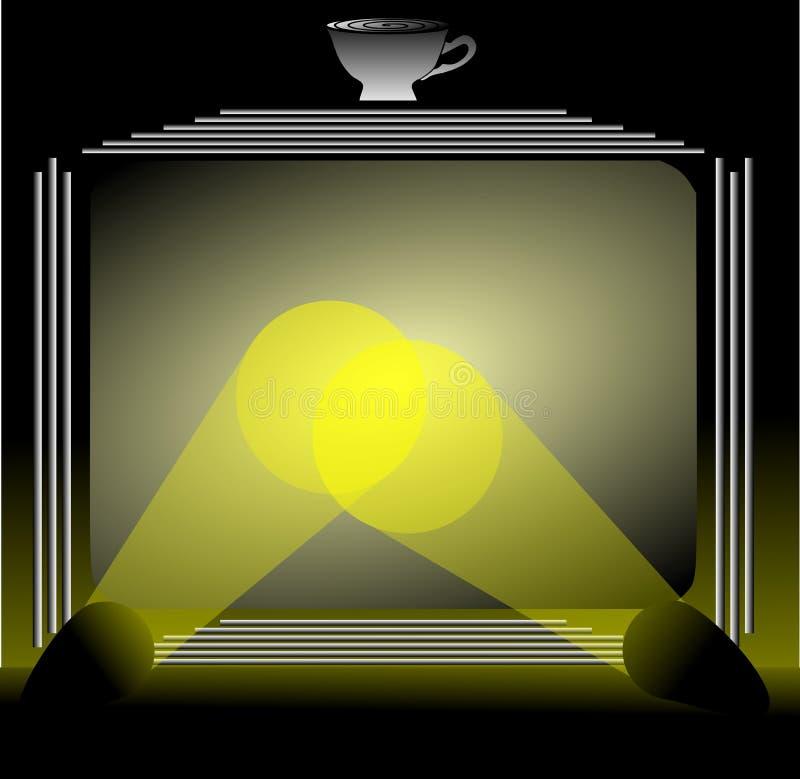 Het gestileerde scherm met koffiekop en schijnwerpers vector illustratie