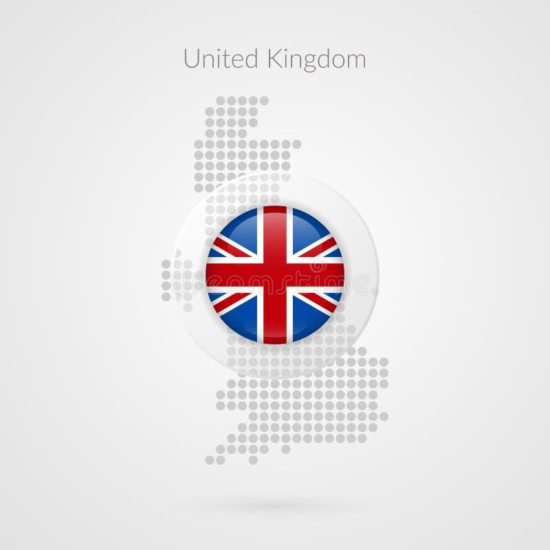 Het gestippelde vectorteken van het Verenigd Koninkrijk kaart Het symbool van Groot-Brittannië Brits illustratiepictogram voor re royalty-vrije illustratie