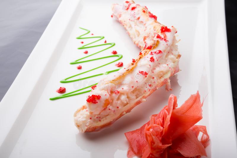 Het gestoomde vlees van het krabbeen stock fotografie