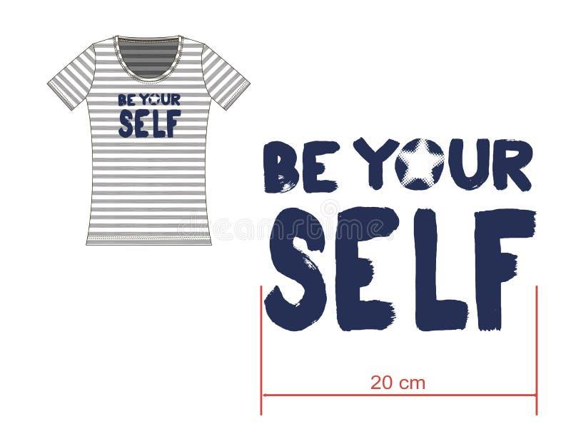 Het gestreepte kunstwerk van de slogant-shirt vector illustratie