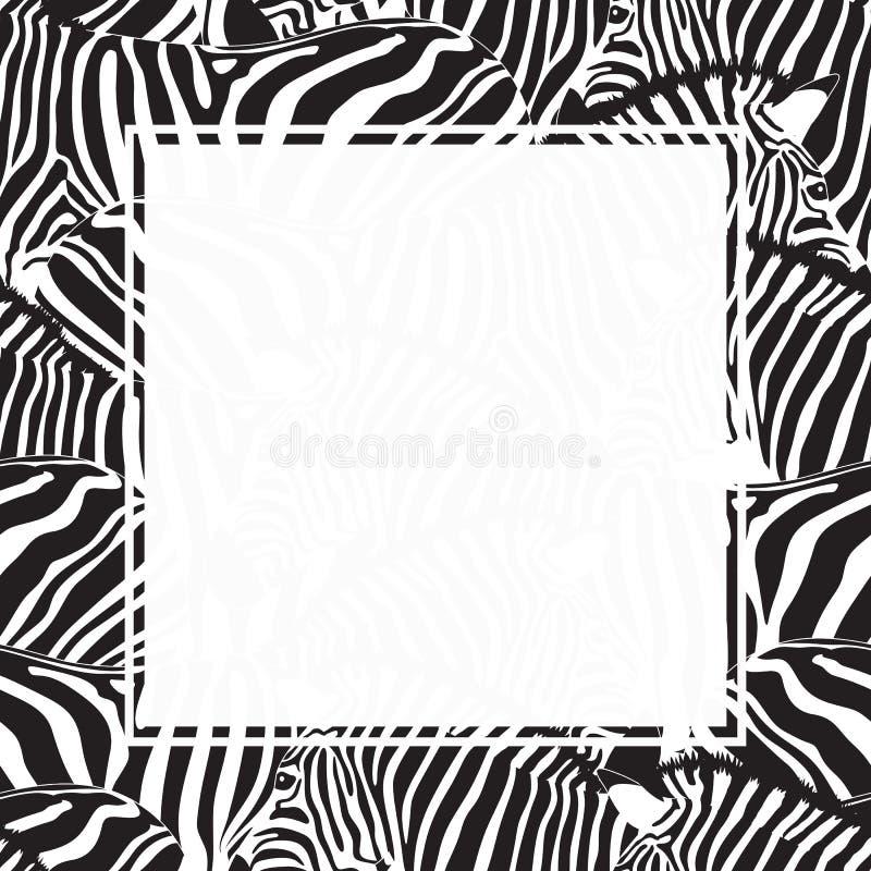 Het gestreepte ontwerp van de drukgrens Dierlijke huidtextuur stock illustratie