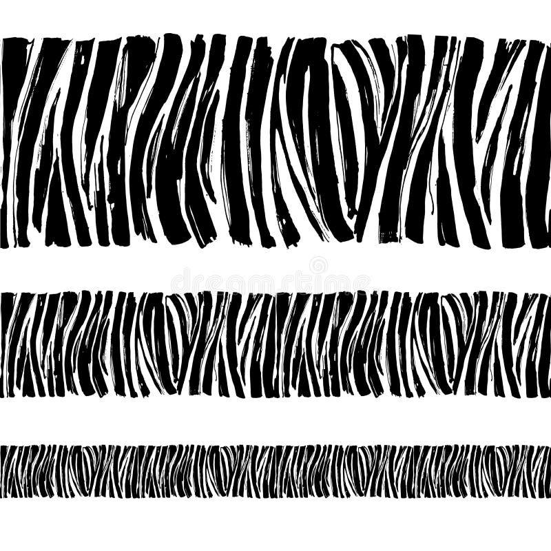 Het gestreepte patroon druk naadloze van het achtergrondgrenskader Zwarte en vector illustratie