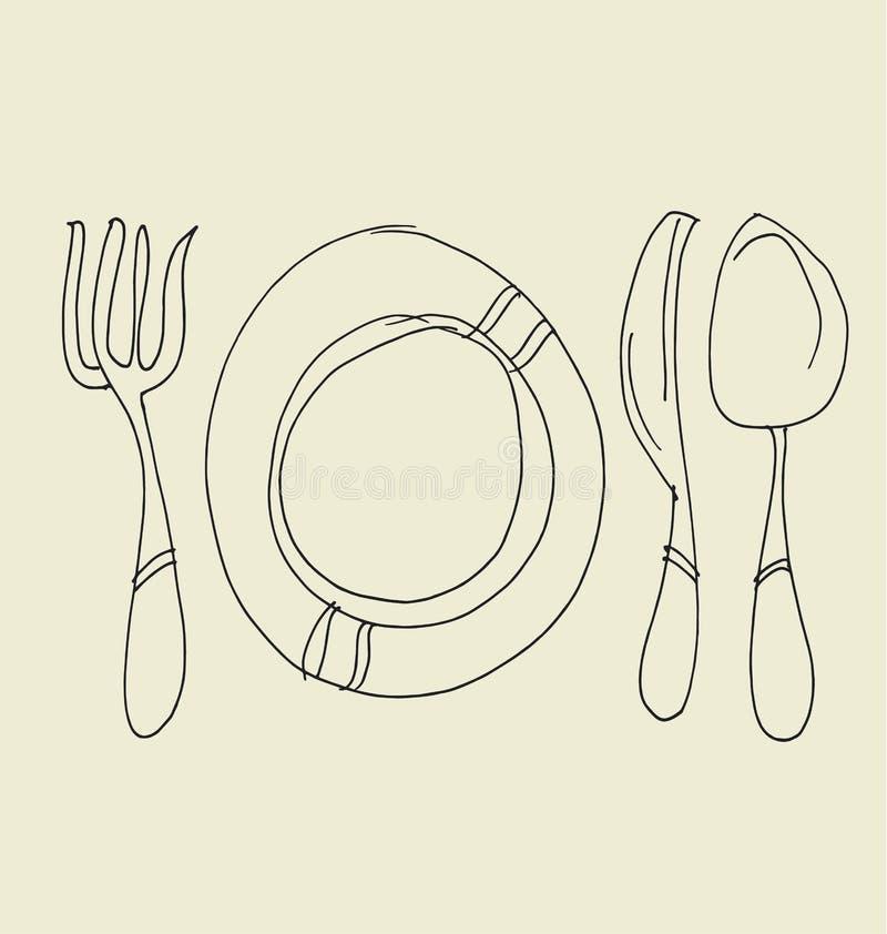 Het getrokken beeld van het keukenvaatwerk hand stock illustratie