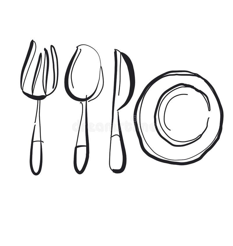 Het getrokken beeld van het keukenvaatwerk hand vector illustratie