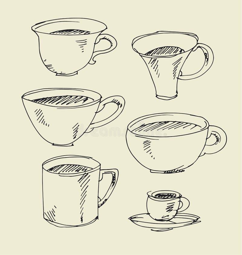 Het getrokken beeld van het keukenvaatwerk hand geassorteerd kop en mokschetskunstwerk vector illustratie