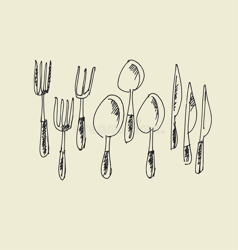 Het getrokken beeld van het keukenvaatwerk hand vork, messen en lepelschetskunstwerk vector illustratie