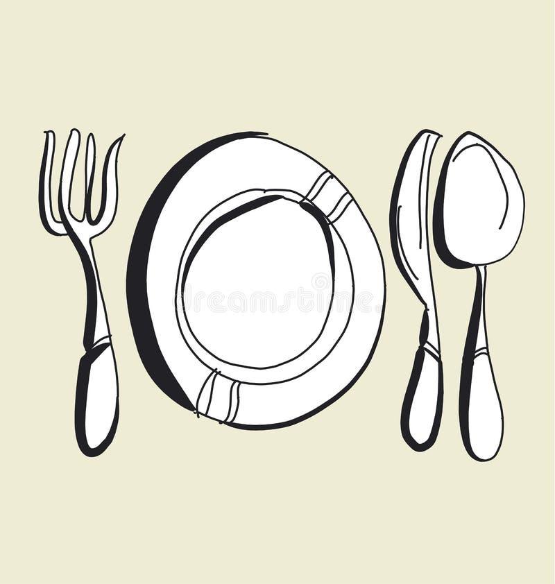 Het getrokken beeld van het keukenvaatwerk hand vork, messen, plaat en lepelschetskunstwerk vector illustratie