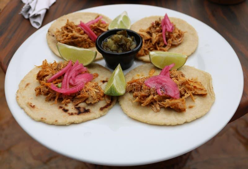 Het getrokken Mexicaanse voedsel van varkensvlees Latijns-Amerikaanse taco's stock foto