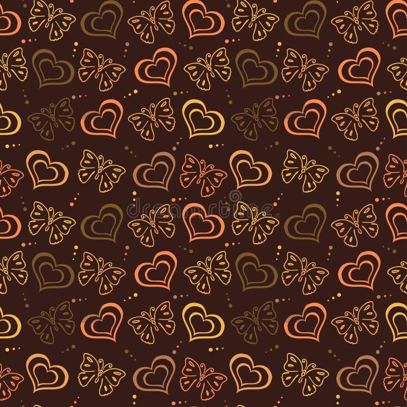 Het getrokken Patroon van de vlinderliefde hand met bruine kleur royalty-vrije illustratie