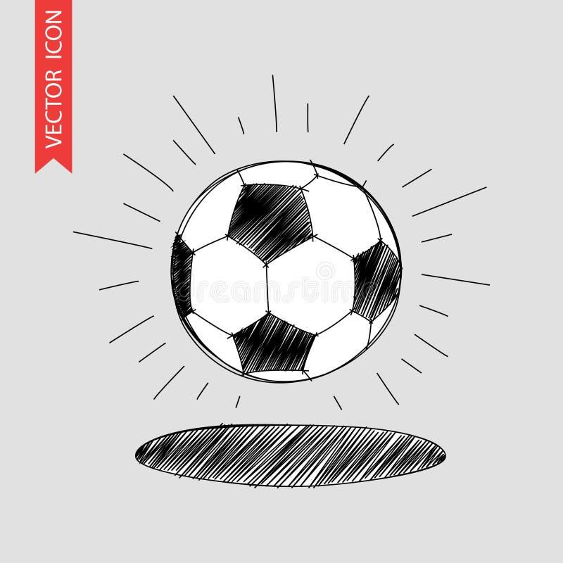 Het getrokken pictogram van de voetbalbal hand royalty-vrije illustratie