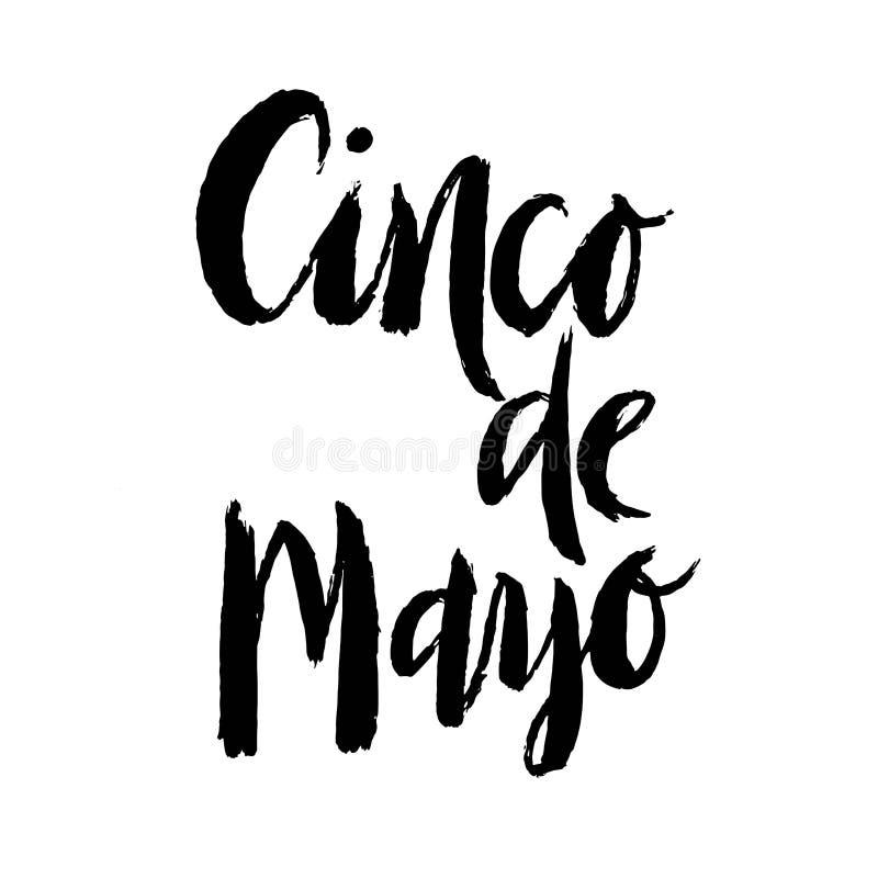Het getrokken van letters voorzien van Cinco de Mayo Fiesta hand met decoratieelementen in grungestijl vector illustratie