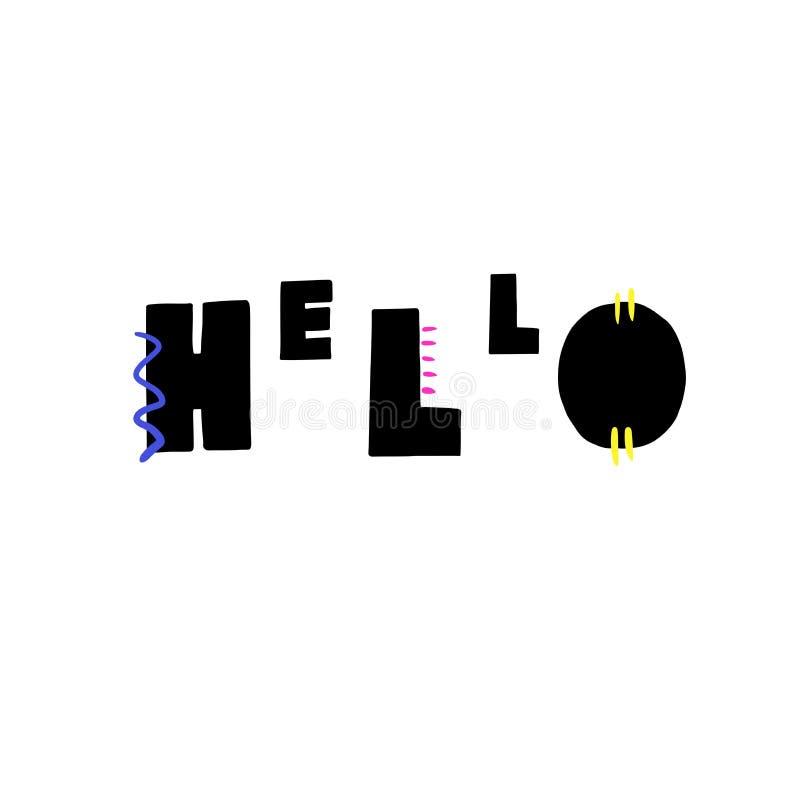 Het getrokken van letters voorzien van Hello hand stock illustratie