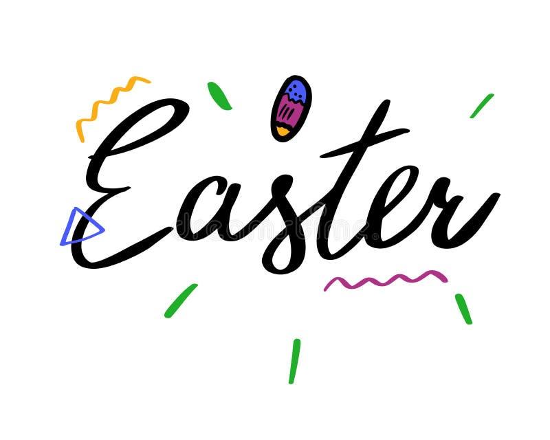 Het getrokken van letters voorzien van Pasen hand vector illustratie