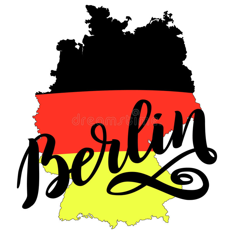 Het getrokken van letters voorzien van Berlijn hand Vector van letters voorziende illustratie die op wit wordt geïsoleerd Malplaa vector illustratie