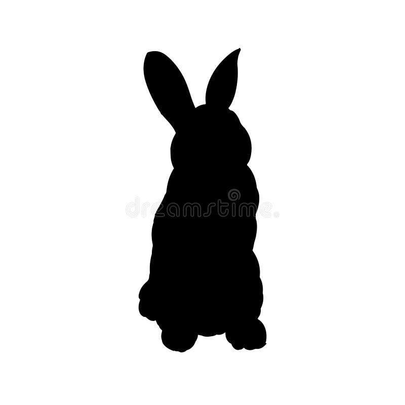 Het getrokken vector ge?soleerde beeld van het konijnsilhouet hand royalty-vrije illustratie