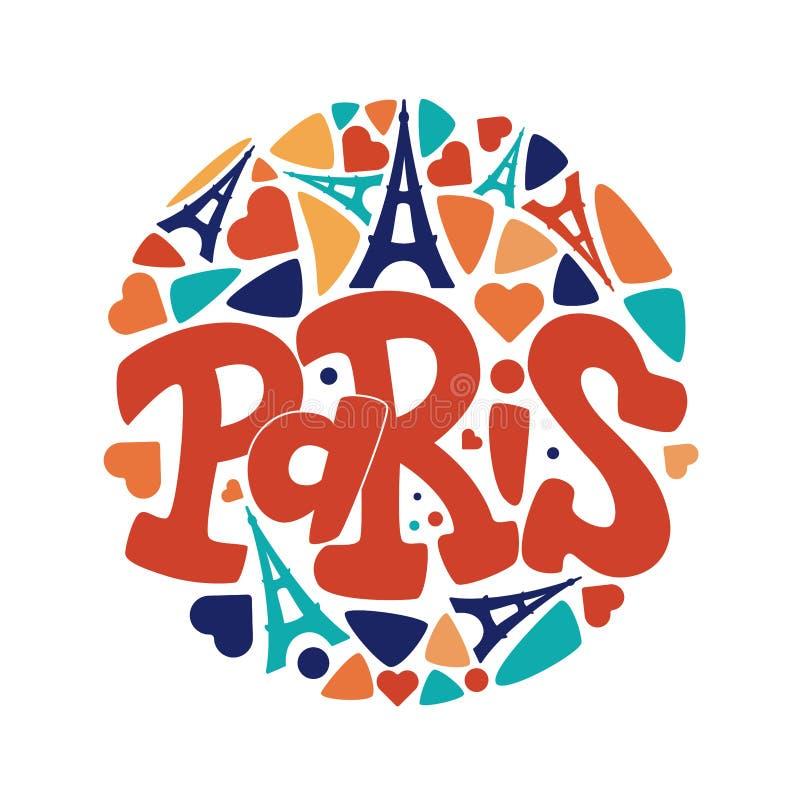 Het getrokken vector van letters voorzien van Parijs hand royalty-vrije illustratie