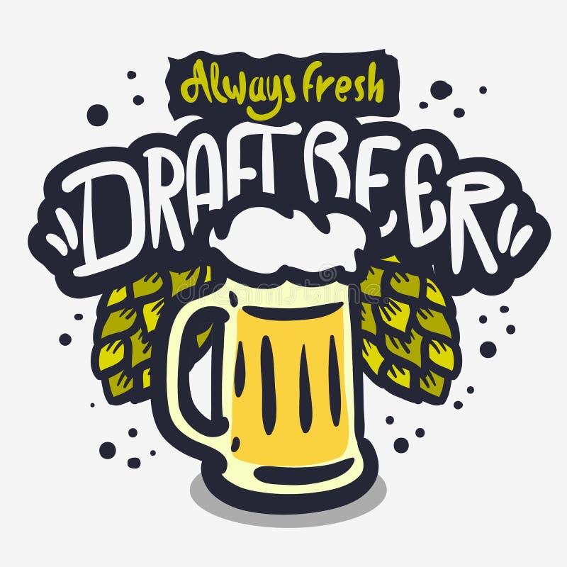 Het Getrokken Vectorontwerp van het ontwerpbier Hand op een Witte Achtergrond met een Mok Bier en Bierhop royalty-vrije illustratie
