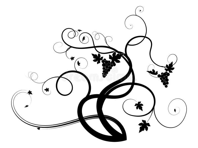 Het getrokken wijnstokdruif weven op een witte achtergrond stock illustratie