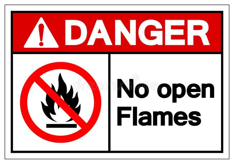 Het gevaar Geen Teken van het Open Vlammensymbool, Vectorillustratie, isoleert op Wit Etiket Als achtergrond EPS10 vector illustratie