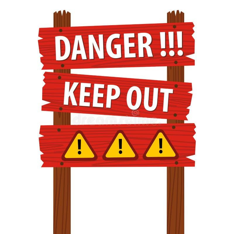 Het gevaar houdt Houten Teken weg stock illustratie