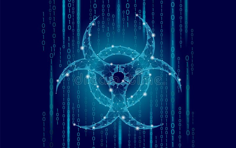 Het gevaar van de het virusaanval van het computerweb Van epidemia de waakzame gegevens van het Biohazardteken van de de informat stock illustratie