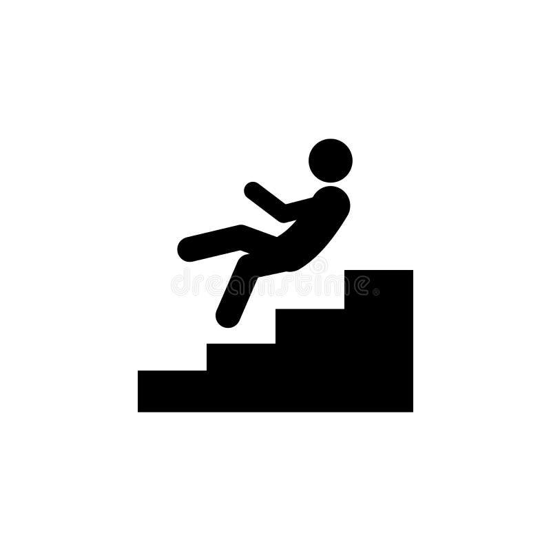 het gevaar, viel onderaan pictogram Element van het menselijke pictogram van het gevaarsteken voor mobiele concept en webtoepassi vector illustratie