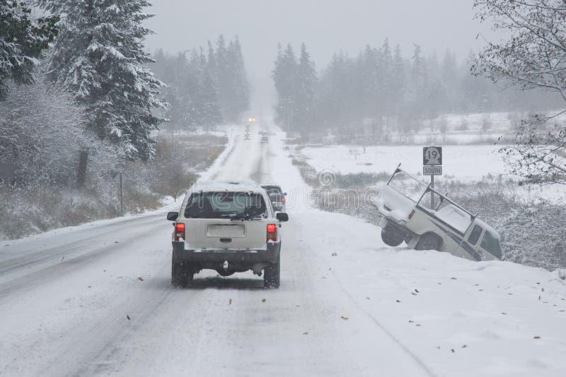 Het gevaarlijke Drijven van de Winter stock foto's
