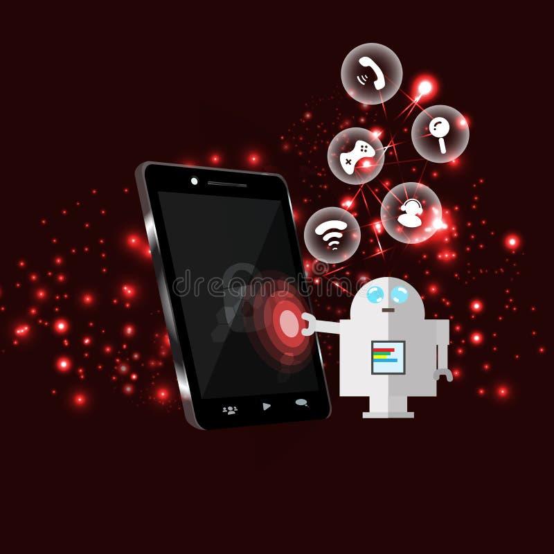 Het gevaarlijke robot het binnendringen in een beveiligd computersysteem systeem van het telefoonnetwerk infographic pictogrammen royalty-vrije illustratie