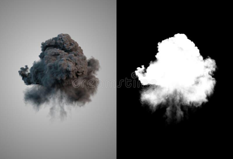 Het gevaarlijke wolk 3d teruggeven van zwarte rook na een explosie met alpha- kanaal vector illustratie