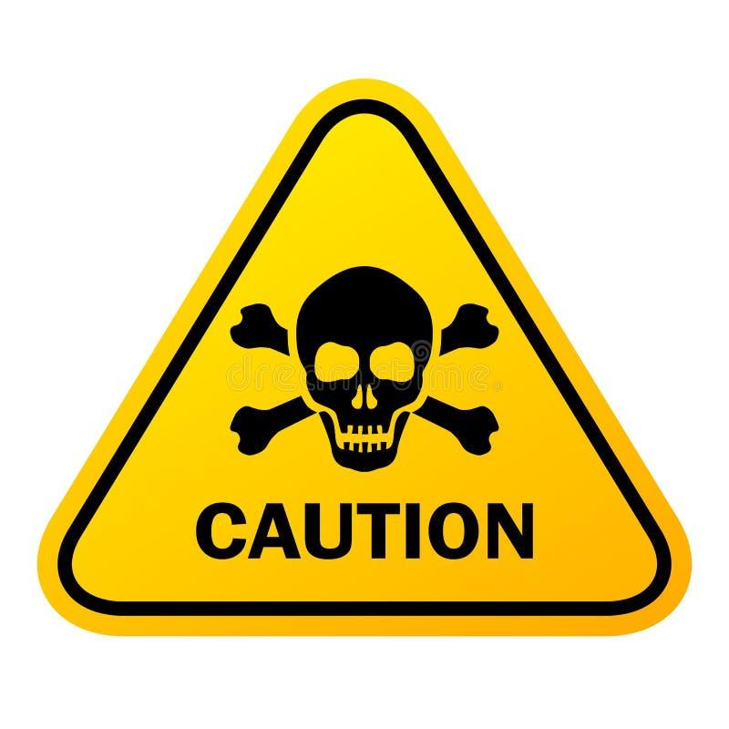 Het gevaars vectorteken van de voorzichtigheidsschedel stock illustratie