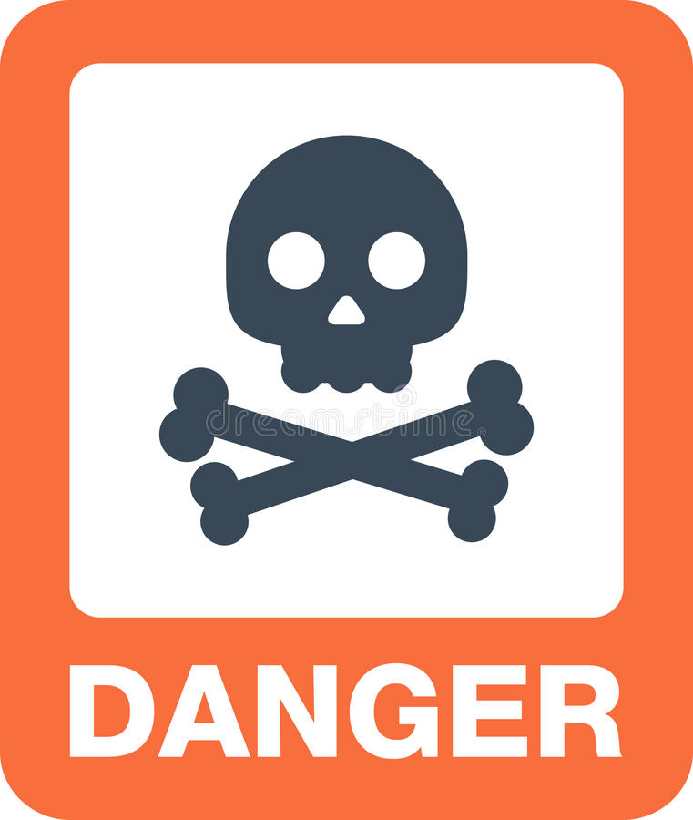 Het gevaarsknoop en waarschuwingsborden van aandachtspictogrammen stock illustratie