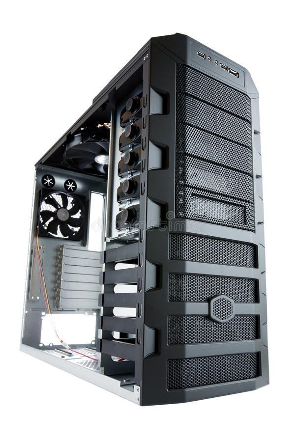 Het geval van de Computer van PC van de Desktop dat op wit wordt geïsoleerd royalty-vrije stock afbeeldingen
