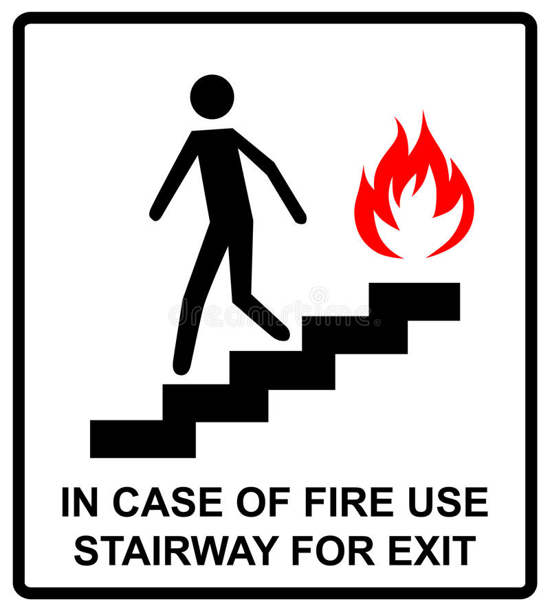 In het geval van de trap van het brandgebruik voor uitgangsteken Vector symbool stock illustratie