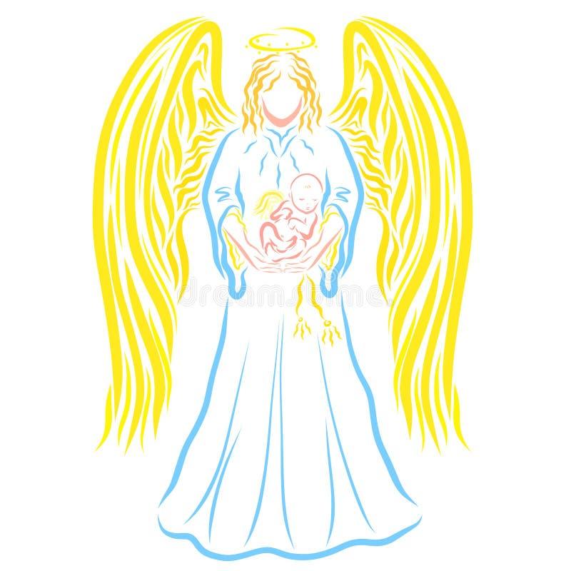 Het geven Engel met een gevleugelde slaapbaby in haar wapens vector illustratie