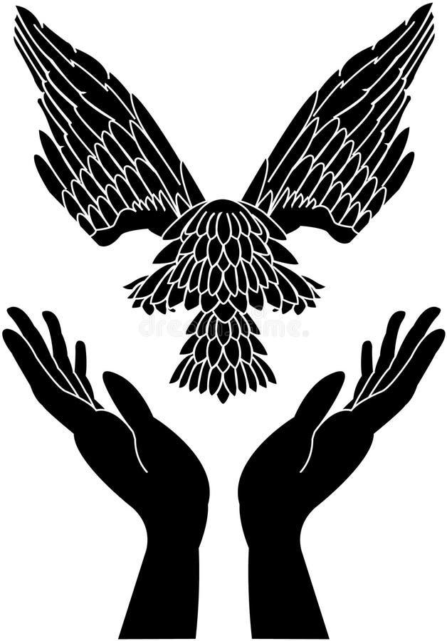 Het geven handen en duif tijdens de vlucht vector illustratie