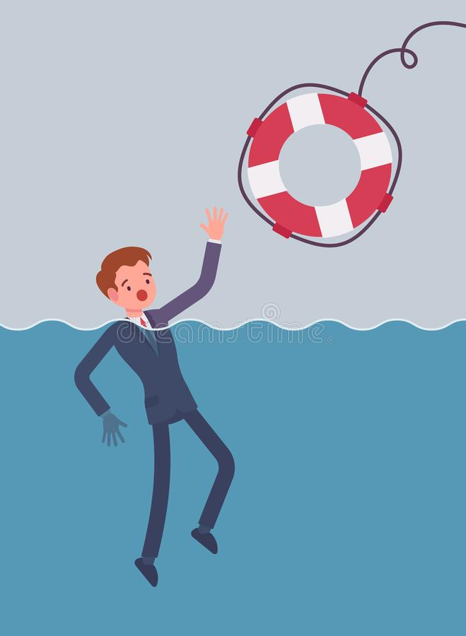 Het geven van een reddingsboei voor verdrinkende zakenman vector illustratie
