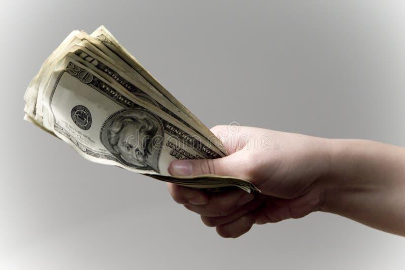 Het geven van Geld stock afbeelding