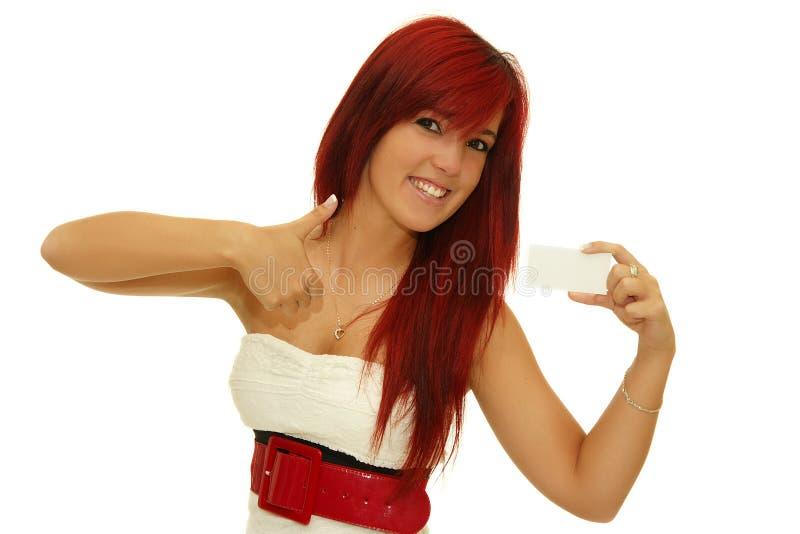 Het geven van het meisje duim-omhoog en houdt een leeg teken royalty-vrije stock foto