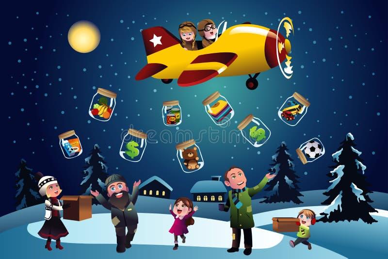 Het geven van schenking tijdens Kerstmis vector illustratie