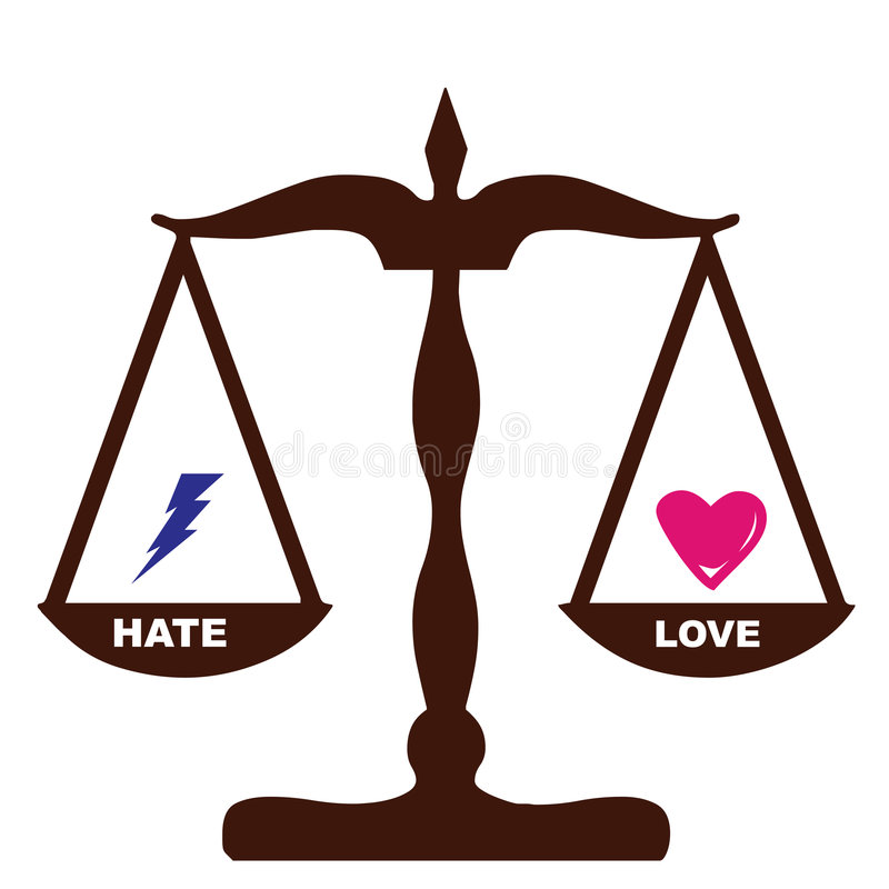 Het gevoelsgewichten van de Haat van de liefde het zelfde royalty-vrije illustratie