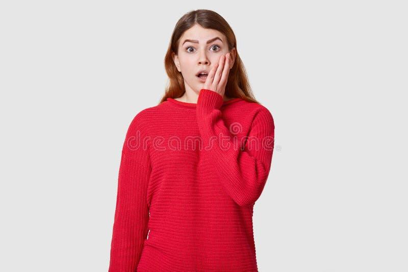 Het gevoelsportret van mooi modieus meisje kleedde het rode sweater stellen over witte achtergrond Het aantrekkelijke wijfje heef stock afbeeldingen
